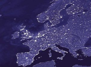 light map of europe at night